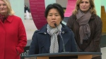 Coun. Kristyn Wong-Tam speaks with reporters at a press conference in support of an Expo 2025 bid on Tuesday afternoon.