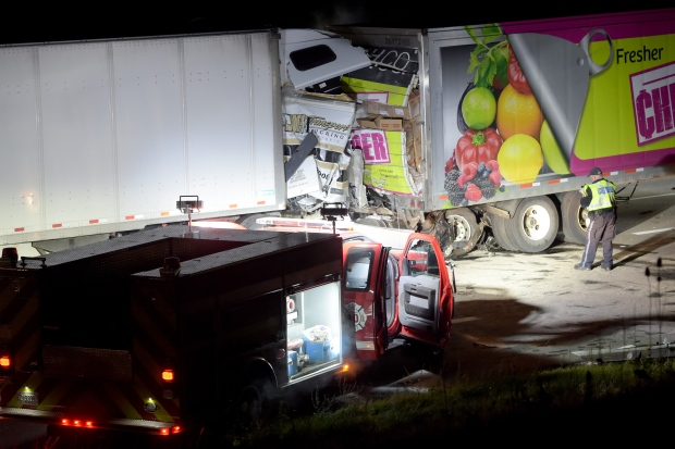 One person is dead after two transport trucks collided on Highway 401 in Milton. (Andrew Collins/ CP24)