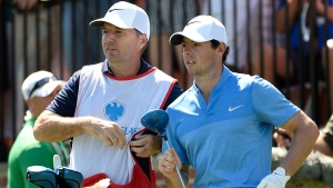 Rory McIlroy, right, and his caddy, J. P. Fitzgerald in Farmingdale, N.Y., on n this Aug. 28, 2016. (Kathy Kmonicek / AP)