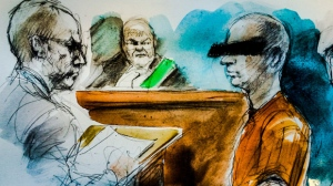 A 49-year-old Calgary accused of abducting his six children and bringing them to Ontario is seen in this court sketch. (Pam Davies/ CTV Toronto)