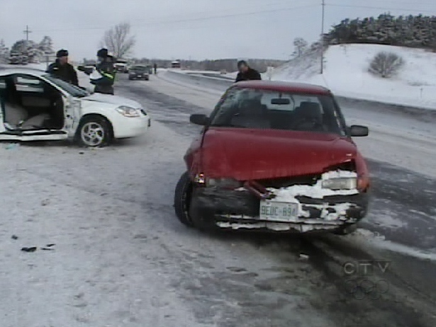 The Friday, Feb. 20, 2009 accident scene on Highway 35/115. One person was left critically injured.