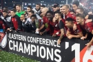 Toronto FC celebrates their victory over the Montreal Impact during extra time of MLS Eastern Conference playoff soccer final action in Toronto on Wednesday, Nov. 30, 2016. (THE CANADIAN PRESS/Frank Gunn)