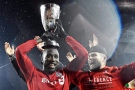 Toronto FC forward Jozy Altidore, left, and Eriq Zavaleta celebrate their victory over the Montreal Impact during extra time of MLS Eastern Conference playoff soccer final action in Toronto on Wednesday, Nov. 30, 2016. (THE CANADIAN PRESS/Nathan Denette)