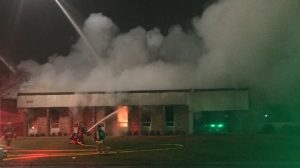 Crews were on the scene of a one-alarm fire at a commercial building in Mississauga. (Mike Nguyen/ CP24)