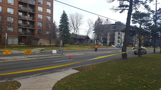 An elderly woman has died after police say she was struck by a vehicle near Bathurst Street and Sheppard Avenue this morning. (Jorge Costa/CTV News Toronto)