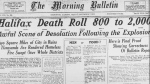 An Edmonton newspaper documents the Halifax Explosion on Friday, Dec. 7, 2017. (The Canadian Press)