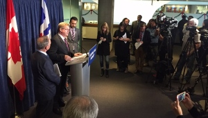 Coun. Gary Crawford speaks to reporters after a draft 2017 city budget calling for a two per cent property tax hike was released on Dec. 6. (Mathew Reid/CP24)