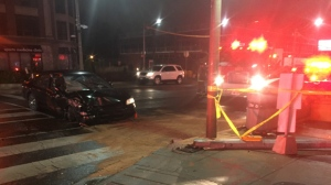 Police say a male driver is in custody after a car struck a light pole in Summerhill this morning. (Mike Nguyen/ CP24)