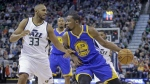 Golden State Warriors forward Kevin Durant drives as Utah Jazz centre Boris Diaw defends in the first half during an NBA basketball game in Salt Lake City on Thursday, Dec. 8, 2016. (AP / Rick Bowmer)