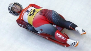 Canada's Alex Gough speeds down the track during the women's luge World Championships race in Koenigssee, Germany, Saturday, Jan. 30, 2016. THE CANADIAN PRESS/AP/Matthias Schrader