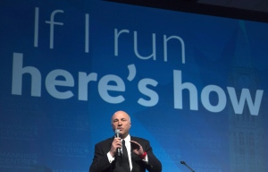 """Businessman Kevin O'Leary speaks during a session entitled """"If I run here's how i'd do it"""" during a conservative conference, in Ottawa in a February 26, 2016, file photo. THE CANADIAN PRESS/Adrian Wyld"""