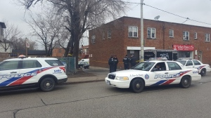 Police at the scene of a stabbing in East York where one male was seriously injured. (Jorge Costa/CTV Toronto)