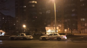 Police are investigating after shots were fired in the lobby of an apartment building on Humberline Drive. (Mike Nguyen/ CP24)