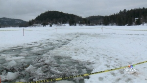 Man rescues wife from frozen lake