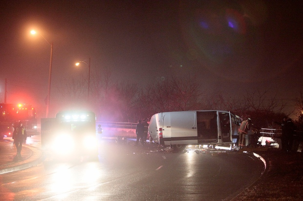 A single-vehicle crash in Etobicoke early Saturday morning has left one male dead. (John Hanley/ CP24)