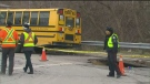 school bus, sinkhole