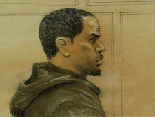 Jorrell Simpson-Rowe -- in a Friday, April 24, 2009 court sketch -- will have to serve almost four more years before being eligible for parole.