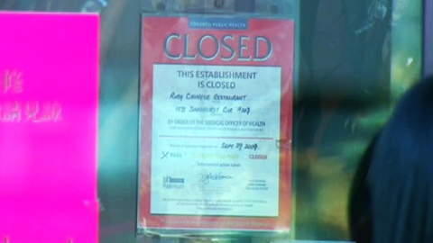 Two closure notifications posted at Sandhurst Circle eatery near Woodside Square mall at McCowan Road and Finch Avenue East on Thursday, Oct. 8, 2009.