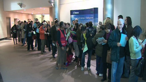 A lineup at a Toronto swine flu clinic on Wednesday, Nov. 18, 2009.