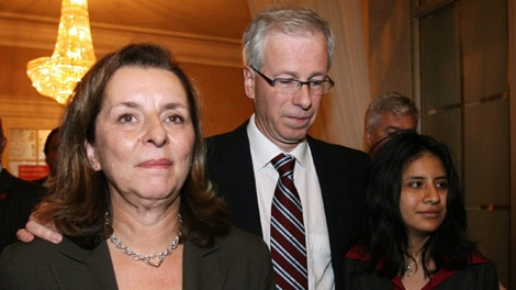 Liberal Leader Stephane Dion walks with his wife Janine Krieber and daughter Jeanne as they leave the Liberal election party in Montreal, Que., on Tuesday Oct. 14, 2008. The Liberals lost to the Conservatives who won a minority government. (Sean Kilpatrick / THE CANADIAN PRESS)