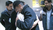A group of GTA health care workers are greeted with hugs on Jan. 24, 2010. They returned home from an earthquake relief mission to Haiti.