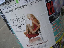 Poster for Paris Hilton's fashion party in Toronto last weekend.
