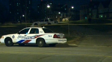 Toronto police investigate at the scene of what police call a 'severe sexual assault' near the York University campus, early Wednesday, April 21, 2010