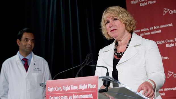 Ontario Minister of Health and Long-Term Care Deb Matthews speaks alongside Dr. Samir Sinha, left, at Mount Sinai Hospital in Toronto on Thursday May 24, 2012.  (Aaron Vincent Elkaim / THE CANADIAN PRESS)
