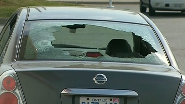 Air Canada says it appears an engine part fell from the plane and crashed into the windshield of a car in Mississauga, Ont. on Monday, May 28, 2012.