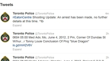 Toronto Police release a tweet saying that the Eaton Centre shooting suspect was arrested on Monday, June 4, 2012.