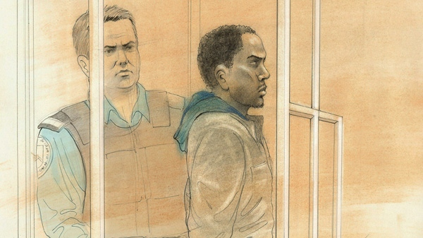 Christopher Husbands, the suspect in the Eaton Centre shooting is shown in a court sketch on Monday, June 4, 2012.