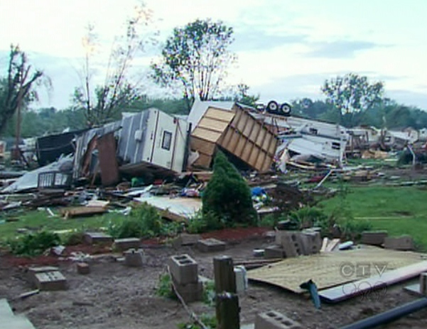 Smith's Trailer Park and Campground lies in ruin following the storm in Midland, Ont., Wednesday, June 23, 2010.