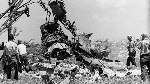 Investigators survey the damage of Air Canada flight 621 that crashed at Toronto's Pearson International Airport on July 5, 1970, killing 109 passengers. (THE CANADIAN PRESS)