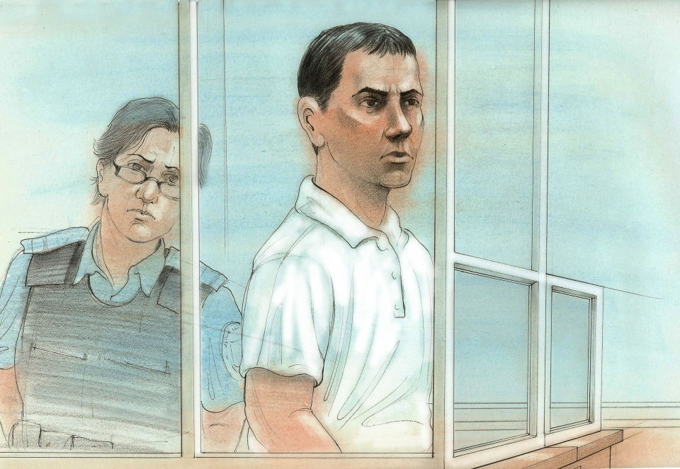 Dean Wiwchar, the suspect arrested in connection with the Little Italy shooting, appears in court on Friday, June 22, 2012. (CTV News / John Mantha)