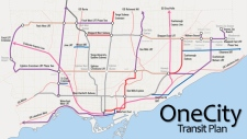 A OneCity Transit Plan map posted on Twitter by TTC chair Karen Stintz