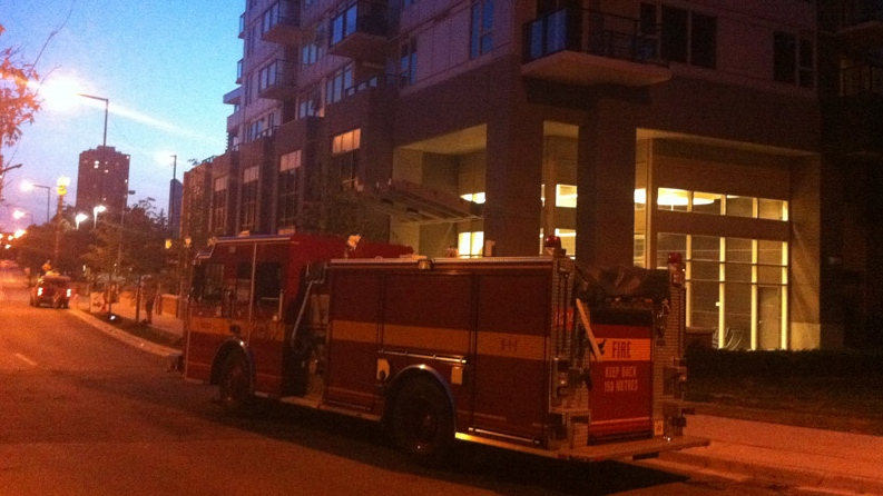 A fire truck is parked outside an apartment on Borough Dr. in Scarborough, the scene of a suspected drug lab, on Monday, July 2, 2012. (Photo courtesy of Scott Lightfoot)