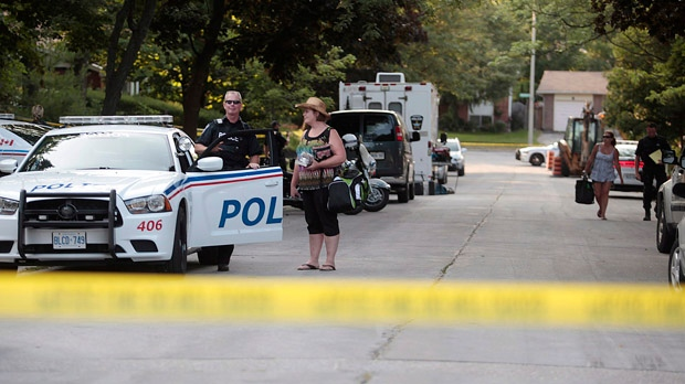 Barrie police evacuated more than 20 homes as a precaution after explosives were found at a residence Thursday, July 12, 2012. (Benjamin Ricetto / THE CANADIAN PRESS)