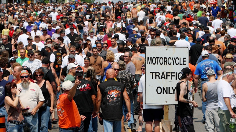 People descend on the town of Port Dover, Ont., Friday, July 13, 2012. (Dave Chidley / THE CANADIAN PRESS)