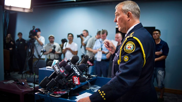 Toronto Police Chief Bill Blair addresses a news conference on Monday night's fatal shooting at a street party in Scarborough, in Toronto, Tuesday, July 17, 2012. (The Canadian Press/Ian Willms)
