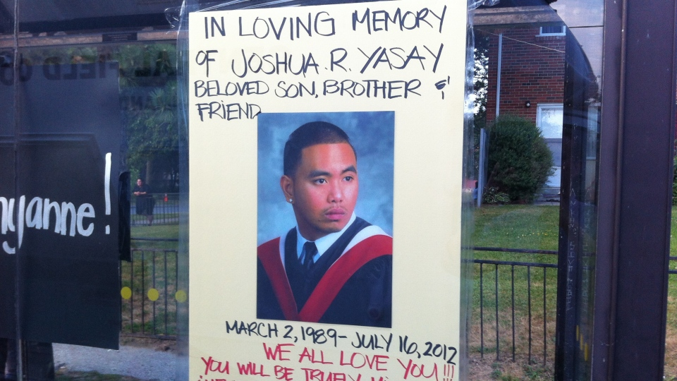 A poster memorializing Joshua Yasay, 23, who was one of two people killed in a shooting at a block party in Toronto, is shown on Tuesday, July 17, 2012. (Scott Lightfoot / CTV Toronto)