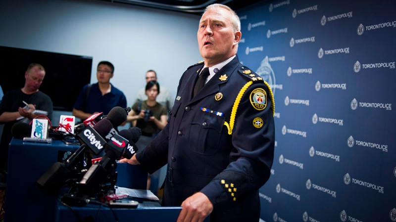 Toronto Police Chief Bill Blair addresses a news conference on Monday night's fatal shooting at a street party in Scarborough, in Toronto, Tuesday, July 17, 2012. (Ian Willms / THE CANADIAN PRESS)
