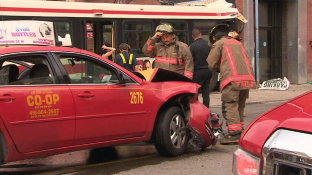 Two transported to hospital after TTC bus collides with building