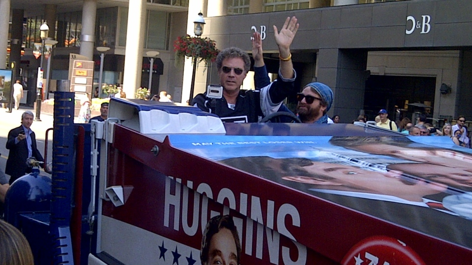 Actors Will Ferrell and Zach Galifianakis arrive at the Hockey Hall of Fame in Toronto on Monday, July 30, 2012 to promote their new movie 'The Campaign.' (Andria Case / CTV News)