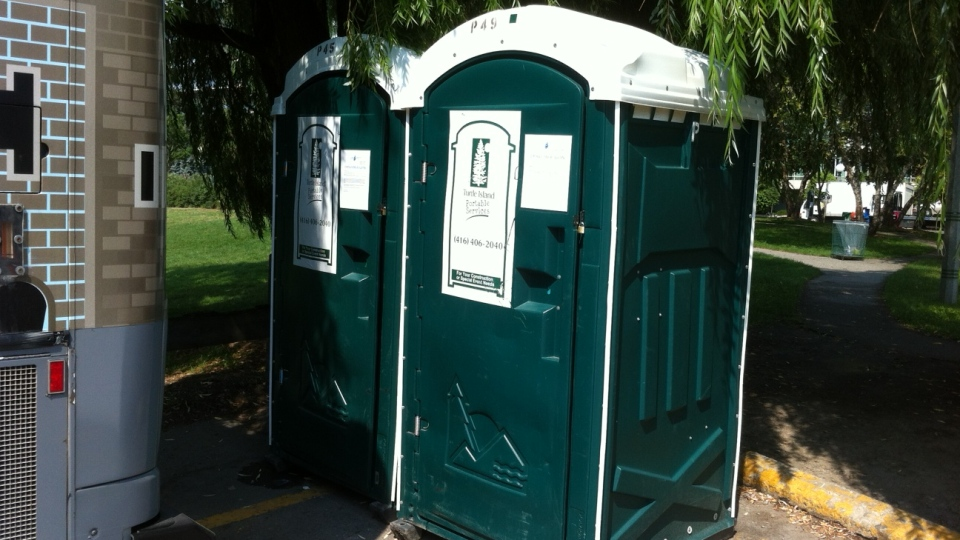 Cab drivers must use these two portable toilets after being accused of leaving the main bathrooms in poor condition. (Spencer Gllichan-Lowe / CTV Toronto)