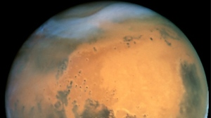 Mars is seen in this image taken by the Hubble Space Telescope.