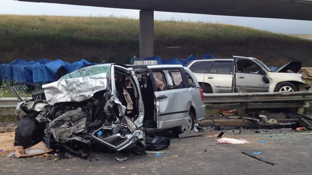 A father and daughter were killed when their car collided with another vehicle heading the wrong way on a ramp linking the QEW to Highway 427 on August 5, 2012. (Jackie Crandles/CP24)
