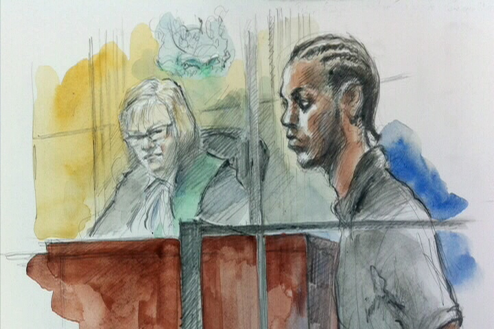 Shaquan Mesquito, 18, is seen in this court sketch, Wednesday, Aug. 8, 2012.