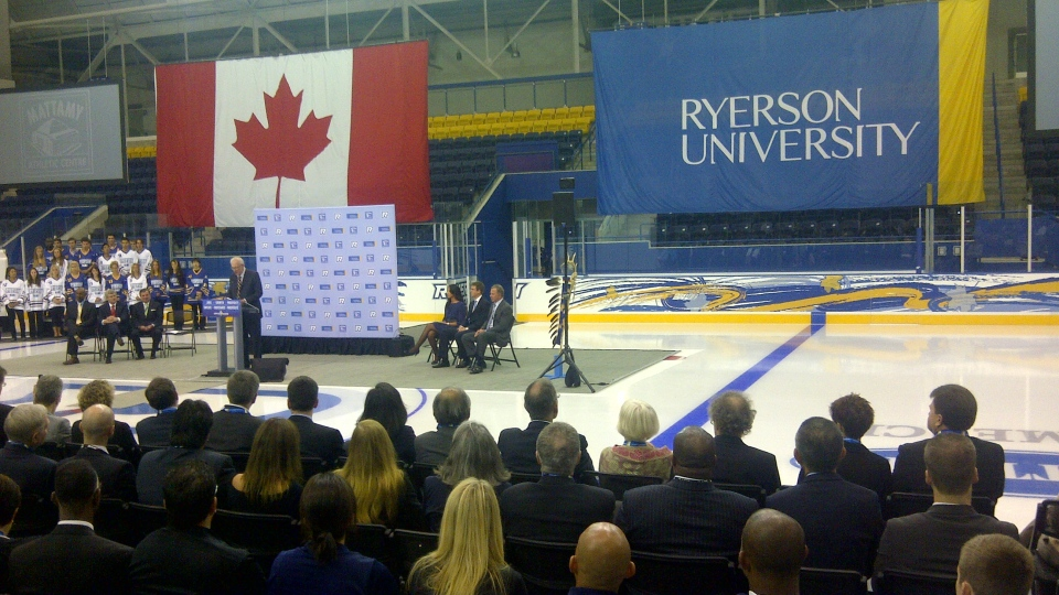Ryerson University president Sheldon Levy speaks at the unveiling of Ryerson University's new Mattamy Athletics Centre, inside the former Maple Leaf Gardens in Toronto on Monday, Aug. 13, 2012. (George Lagogianes / CP24)