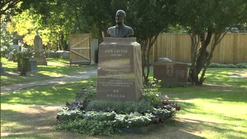A memorial for late NDP leader Jack Layton in the Necropolis Cemetery in Toronto on Tuesday, Aug. 21, 2012.