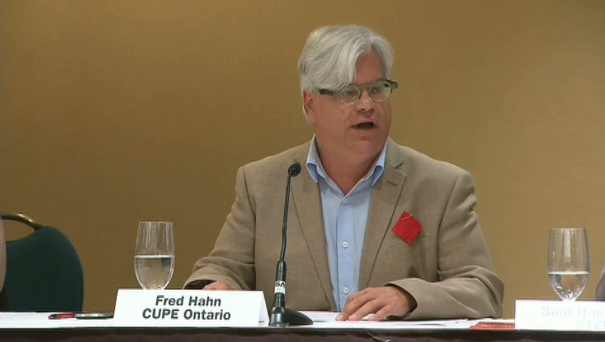 Fred Hahn of CUPE Ontario speaks at the Sheraton Centre Hotel, Thursday, Aug. 23, 2012.